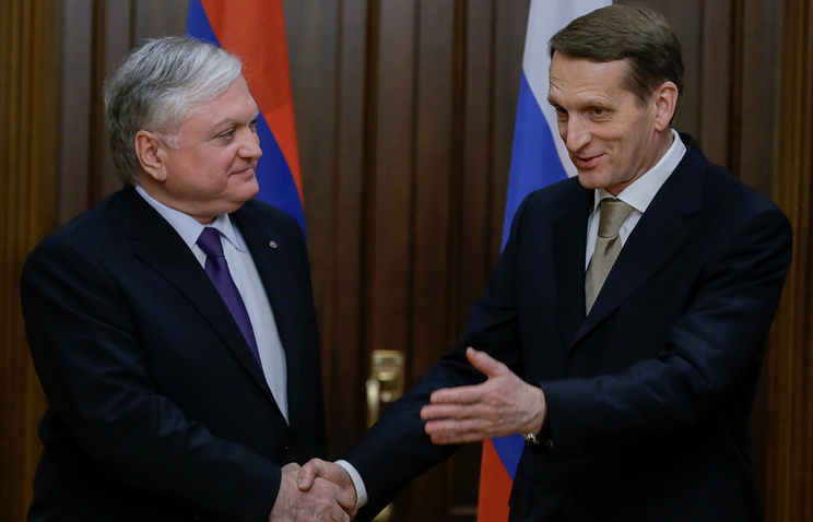 Министр иностранных дел Армении Эдвард Налбандян и спикер Госдумы РФ Сергей Нарышкин