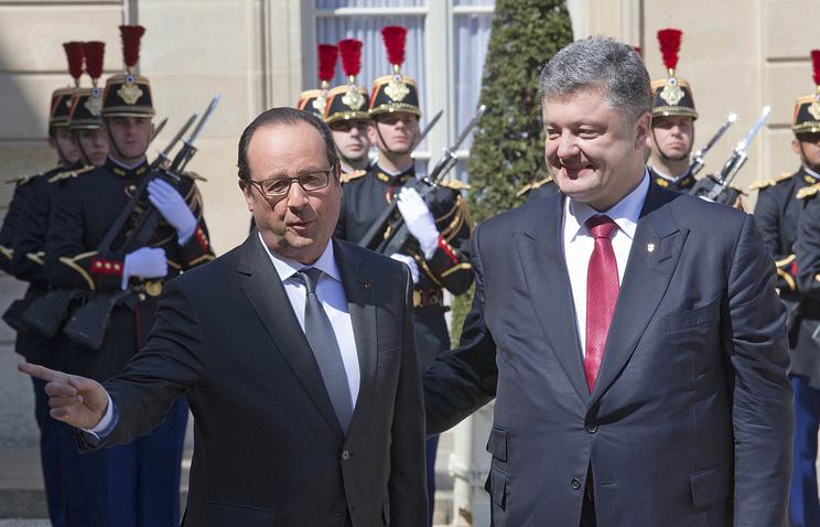 Президент Франции Франсуа Олланд и президент Украины Петр Порошенко
