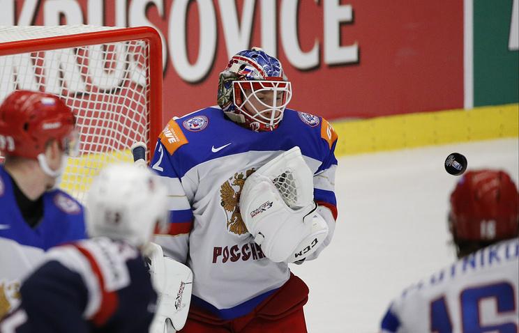 Хоккеисты сборной России во время матча против команды США