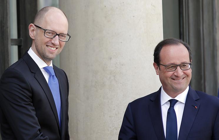 Премьер-министр Украины Арсений Яценюк и президент Франции Франсуа Олланд