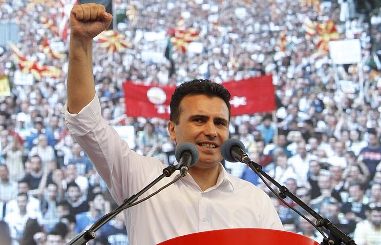 Зоран Заев во время митинга в Скопье