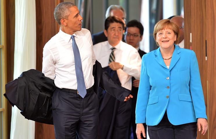 Президент США Барак Обама, канцлер Германии Ангела Меркель и премьер-министр Японии Синдзо Абэ
