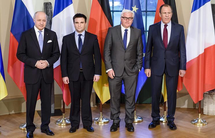 Министры иностранных дел Франции, Украины, Германии и России Лоран Фабиус, Павел Климкин, Франк-Вальтер Штайнмайер и Сергей Лавров