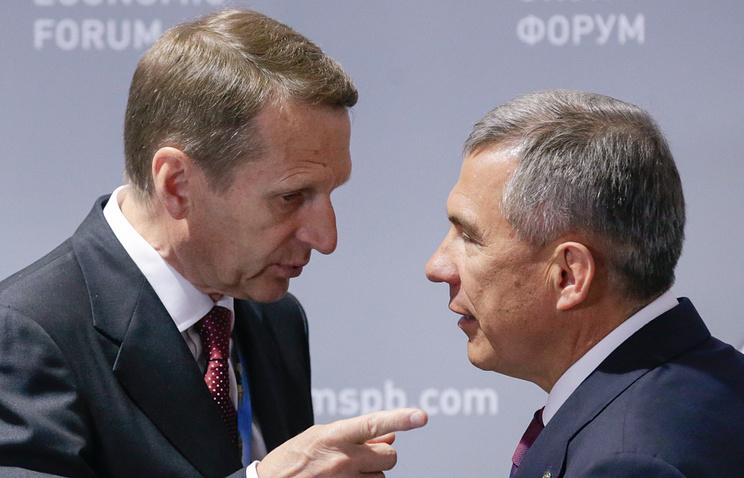 Спикер Госдумы Сергей Нарышкин и врио президента Татарстана Рустам Минниханов
