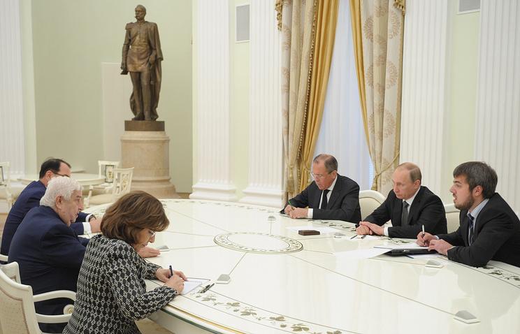 Министр иностранных дел Сирии Валид Муаллем, министр иностранных дел РФ Сергей Лавров  и президент РФ Владимир Путин