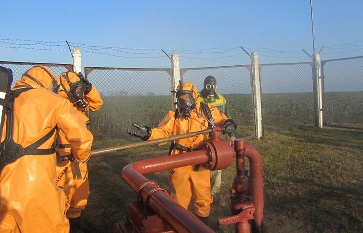 Ликвидация последствий аварии на аммиакопроводе в Терновском районе
