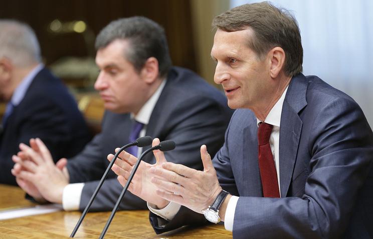 Спикер Госдумы РФ Сергей Нарышкин на встрече с делегацией французских парламентариев