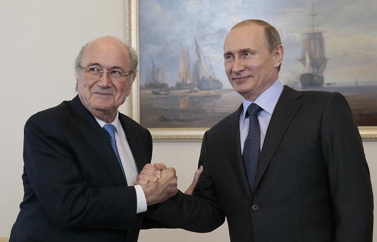 Глава Международной федерации футбола (ФИФА) Йозеф Блаттер и президент России Владимир Путин
