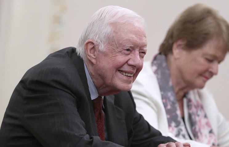 """Бывший президент США Джимми Картер на встрече президента Путина с представителями """"Группы старейшин"""""""