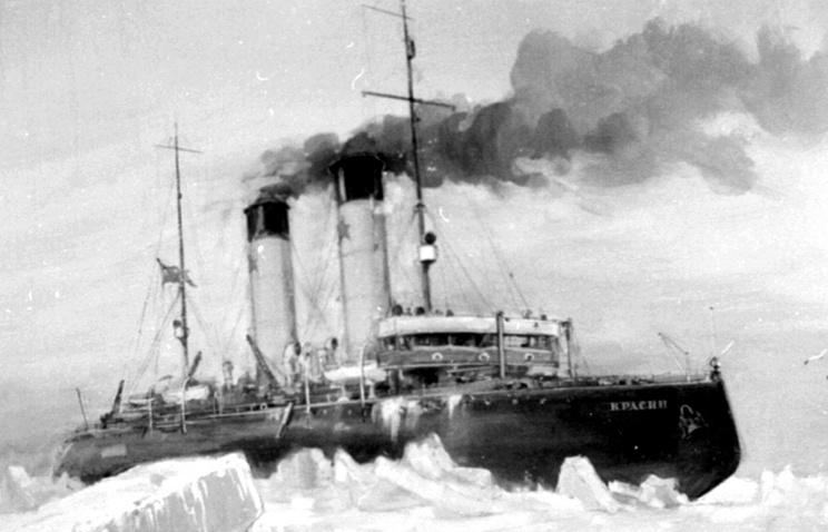 """""""Красин во льдах"""". Картина 1928 г. висит в кают-компании судна"""