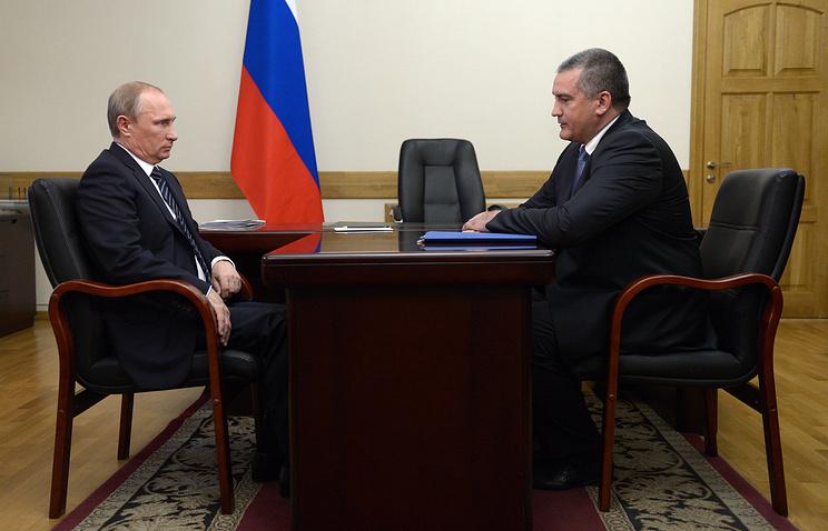 Президент России Владимир Путин и  глава Республики Крым Сергей Аксенов