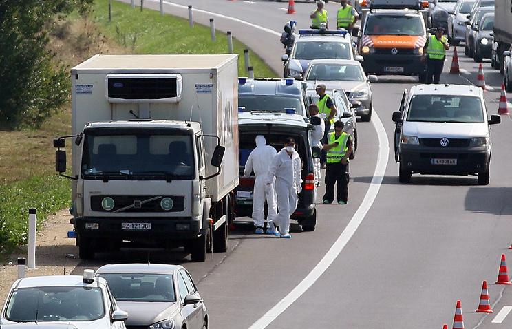 Грузовик в котором нашли тела мигрантов