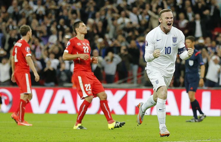 Капитан сборной Англии Уэйн Руни после гола в ворота швейцарцев