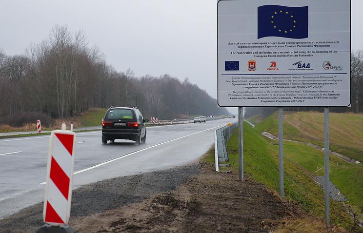"""Открытый после реконструкции участок трассы """"Калининград - Мамоново-2"""" недалеко от границы с Польшей"""