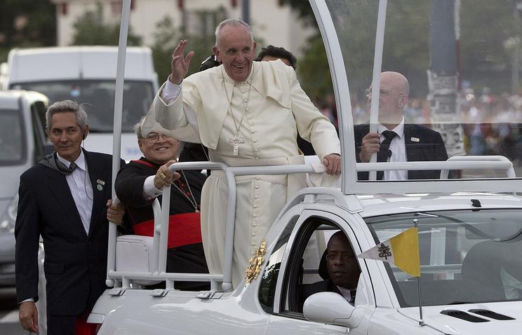 Папа римский Франциск во время визита на Кубу