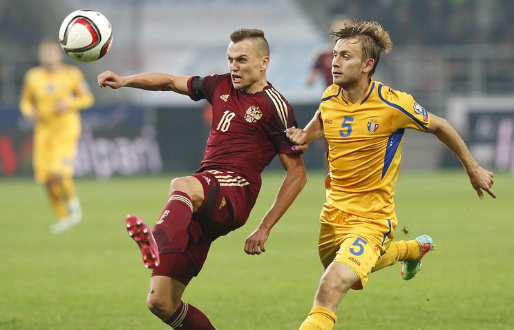 Эпизод из отборочного матча Евро-2016 между сборными России и Молдавии