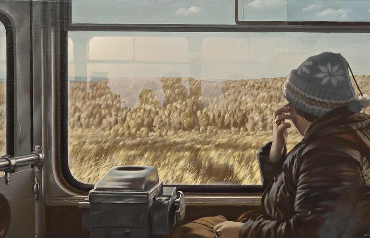 """Файбисович С. """"МКАД"""" Из цикла Рейсовый автобус, 1984 год. Частная коллекция"""