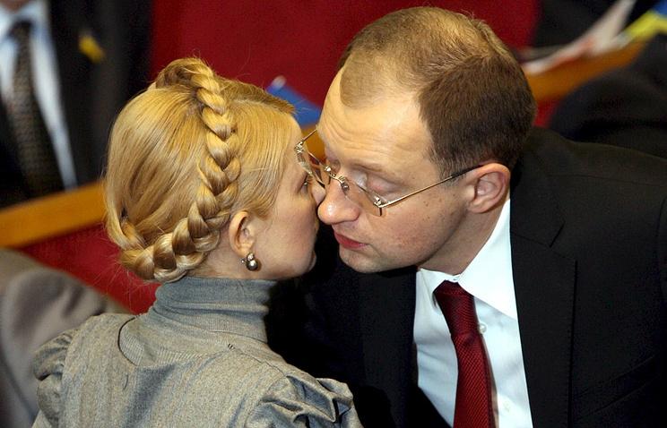 """Лидер украинской партии """"Батькивщина"""" Юлия Тимошенко и премьер-министр Арсений Яценюк"""