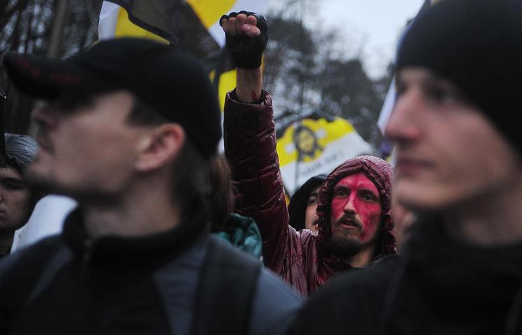 """Участники """"Русского марша"""" во время шествия по улицам Москвы"""
