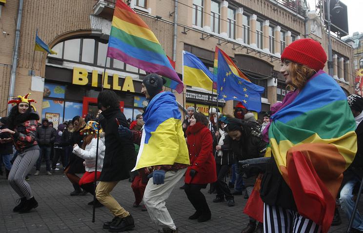Активисты ЛГБТ на Бессарабской площади