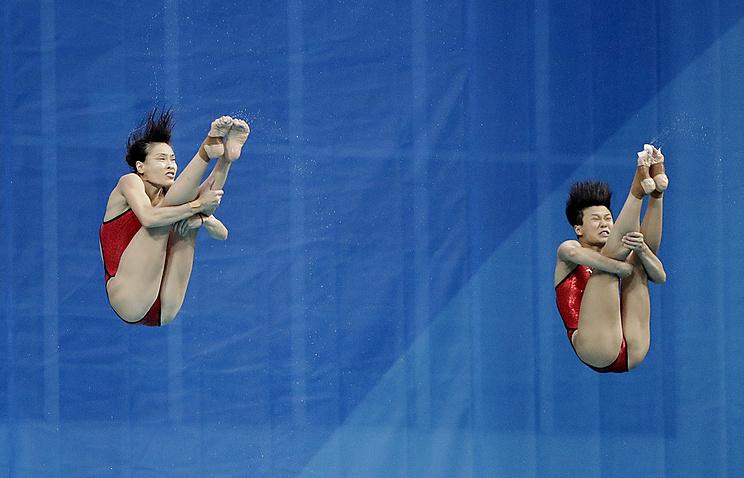 Чемпионками всинхронных прыжках страмплина стали китаянки