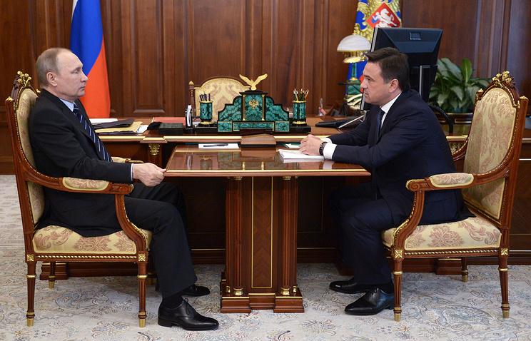 Президент России Владимир Путин и губернатор Московской области Андрей Воробьев