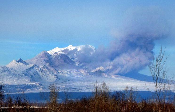 НаКамчатке вулкан Шивелуч выбросил столб пепла на6,5 километра