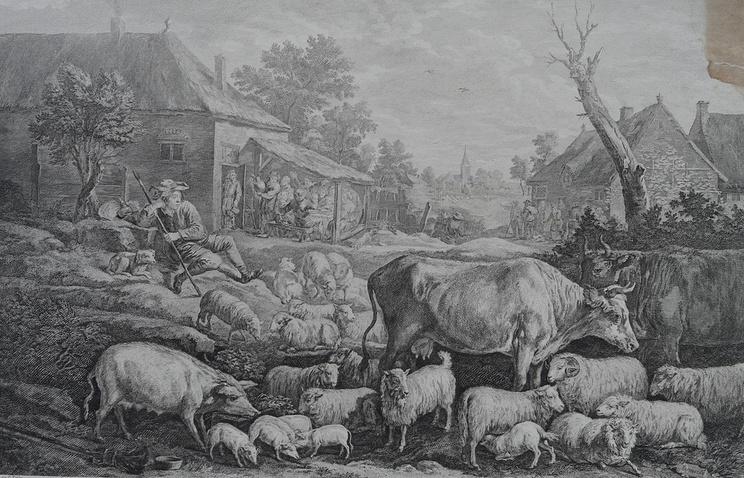 Офорт Пьера Антонио Мартини (1738-1797) и Жана-Филиппа Леба (1707–1783) «На базаре» (1774 год)