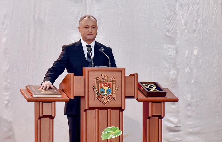 Игорь Додон во время церемонии инаугурации