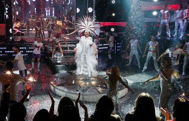 """Певец Филипп Киркоров во время съемок программы """"Новогодняя ночь на Первом канале"""""""