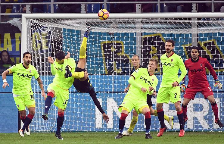 Гол Кандревы на98-й минуте принес «Интеру» победу над «Болоньей»