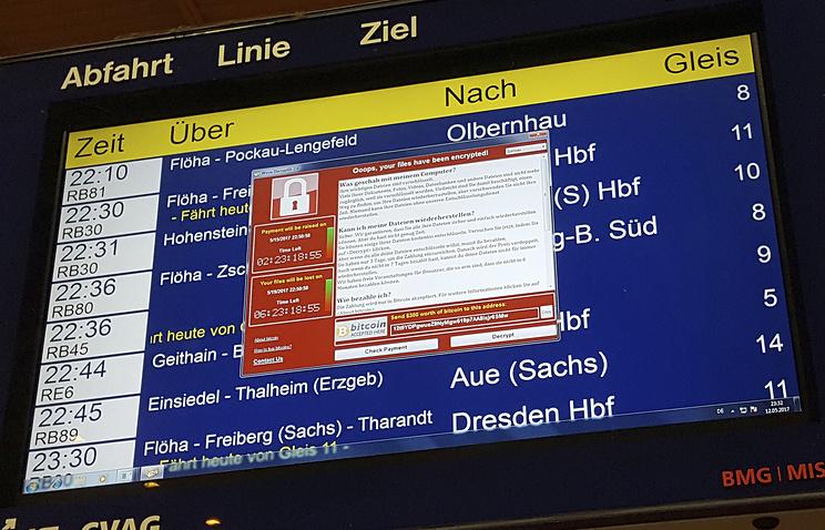 Электронное табло вокзала в немецком городе Хемниц, зараженное вирусом WannaCry