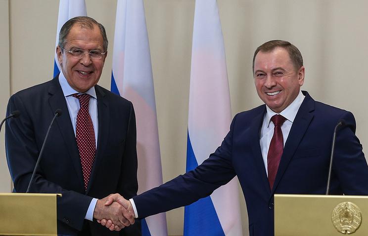 Министр иностранных дел РФ Сергей Лавров и министр иностранных дел Белоруссии Владимир Макей