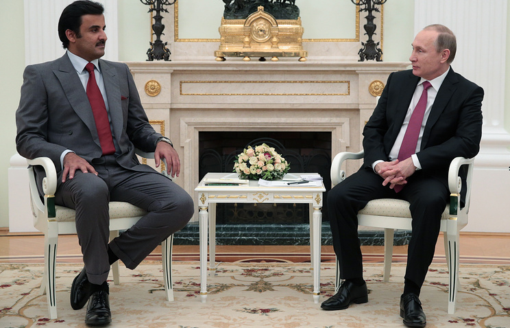 Эмир государства Катар Тамим бен Хамад Аль Тани и президент России Владимир Путин, 2016