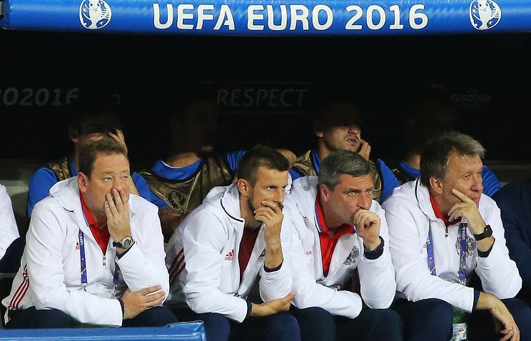 Леонид Слуцкий (слева) и Сергей Балахнин (справа) во время чемпионата Европы