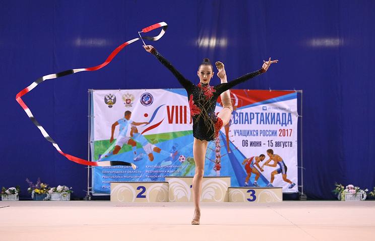 Соревнования по художественной гимнастике на Спартакиаде