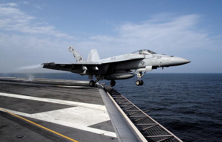 Американский истребитель-бомбардировщик F/A-18E Super Hornet, сбивший сирийский Су-22