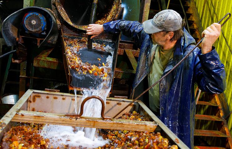 Узел обогащения Калининградского янтарного комбината в поселке Янтарный