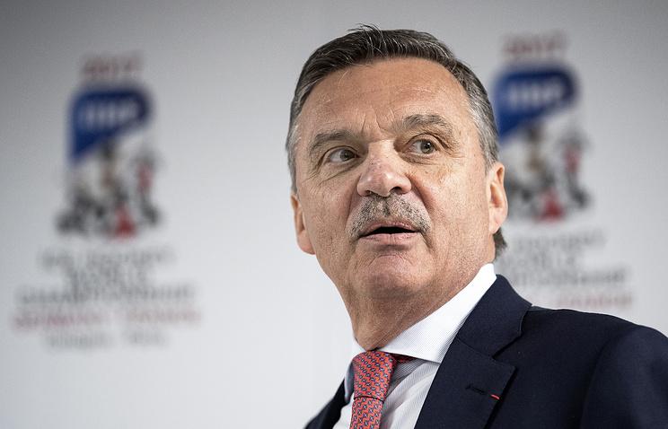 Президент Международной федерации хоккея Рене Фазель