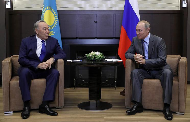 Президент Казахстана Нурсултан Назарбаев и президент России Владимир Путин