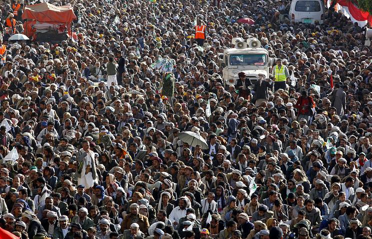 Митинг сторонников хуситов в Сане, Йемен