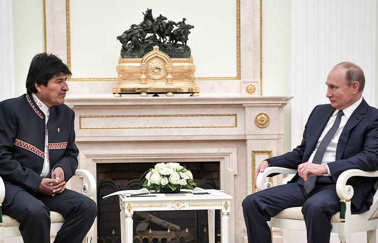 Президент Боливии Эво Моралес и президент РФ Владимир Путин