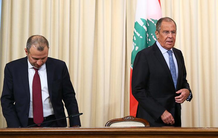 Министр иностранных дел Ливанской республики Джебран Басиль и министр иностранных дел РФ Сергей Лавров