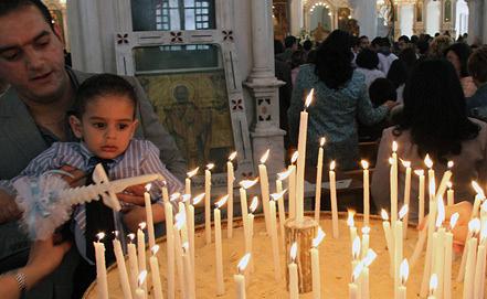 В одной из церквей Сирии. Фото EPA/ИТАР-ТАСС