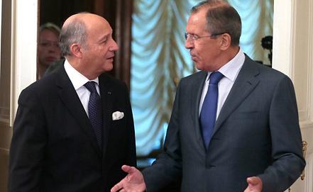 Лоран Фабиус и Сергей Лавров. Фото ИТАР-ТАСС/ Михаил Метцель
