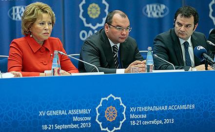 Валентина Матвиенко, Сергей Михайлов, Кемаль Озтюрк (слева направо). Фото ИТАР-ТАСС/ Михаил Метцель