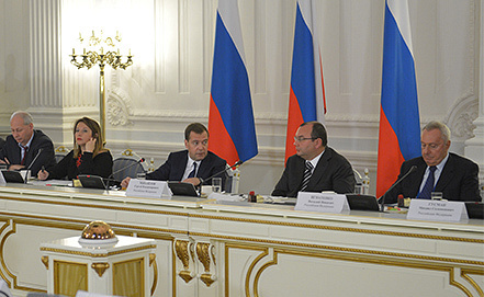 Дмитрий Медведев во время встречи с участниками Генеральной ассамблеи ОАНА. Фото ИТАР-ТАСС/ Александр Астафьев