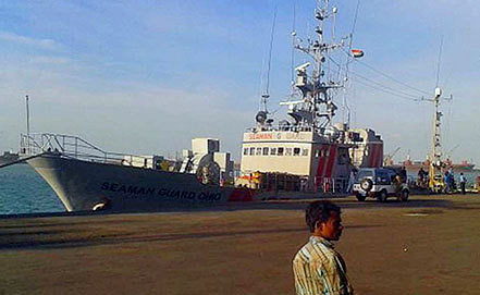 Судно Seaman Guard Ohio в индийском порту Тутикорин . Фото AP