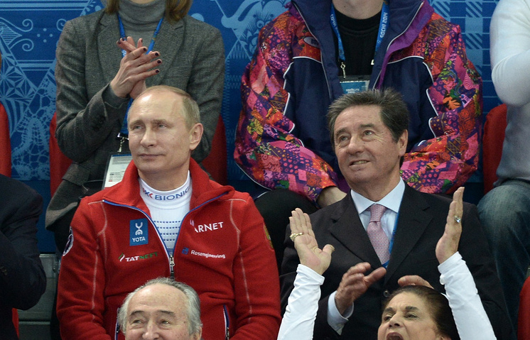 Russian President Vladimir Putin and Presidnent of the International Skating Union Ottavio Cinquanta